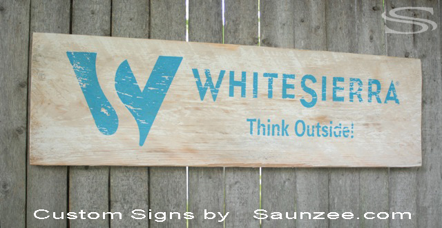 Saunzee Custom Barn Board Wood Sign Timber WoodSign Old WoodenSigns Weathered Signs Visual Merchandising Signage Point of Purchase Sign Retailer Signs Promotional Signs Advertising White Sierra Signage