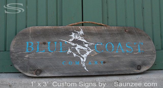Saunzee Custom Barn Wood Sign Dock Wood Sign Old Wooden Signs Weathered Resort Shop Sign Point of Purchase Sign Retailer Signs Store Front Signs Advertising Blue Coast Company Signage