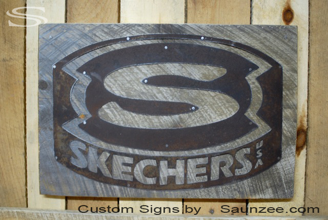 Saunzee Custom Barn Wood Sign Timber Sign Wood Crates Sign Rustic Rusty Steel Sign Old Rusty Metal Sign Nailed On Barn Board Retail Sign Retailer Signs POP Promotional Signs Advertising Sign Skechers Shoes Signage