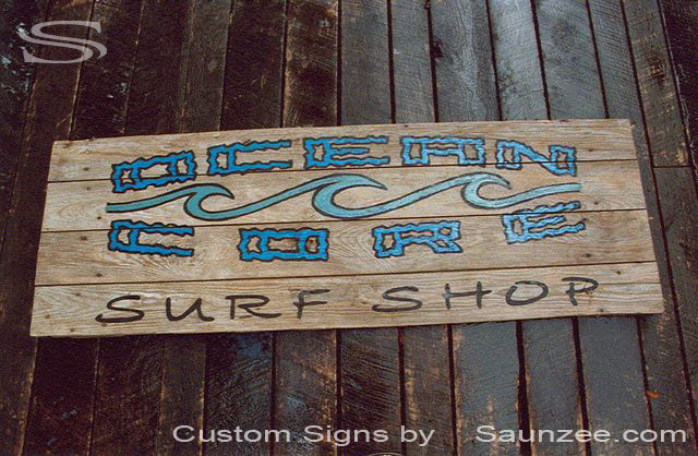 Saunzee Custom Barn Wood Sign Timber Sign Wood Crates Signs Vintage Signs Out Door Store Front Surf Shop Sign Surf Shop Sign Surf Sign Retailer Signs Board Walk Sign OceanCore Trademark Sign Ocean Core