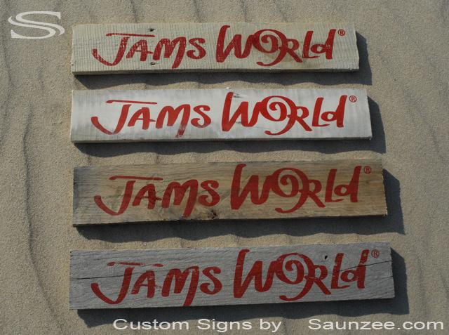 Saunzee Custom Barn Wood Sign Timber Sign Wood Crates Signs Wood Pallet Signs Wooden Signs Point of Purchase Sign Visual Marketing Sign Advertising Sign Merchandising Signs Jams World Signage