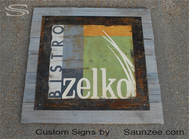Saunzee Custom Barn Wood Sign Wood Crates Signs Vintage Look Signs Rustic Steel Sign Rusty Metal Signs Shop Sign Business Sign Zelko Bistro Restaurant Sign Restaurant Signage