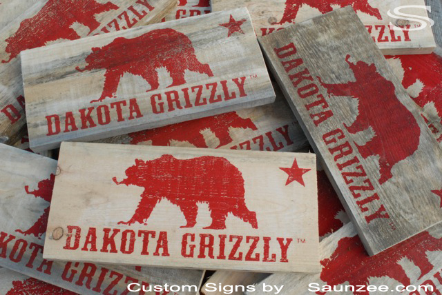 Saunzee Custom Barn Wood Signs Timber Wood Signs POP Signs Rustic Signs Production Run Signs Cabin Signs Retail Timber Store Signs Bear Signs Dakota Grizzy Signs