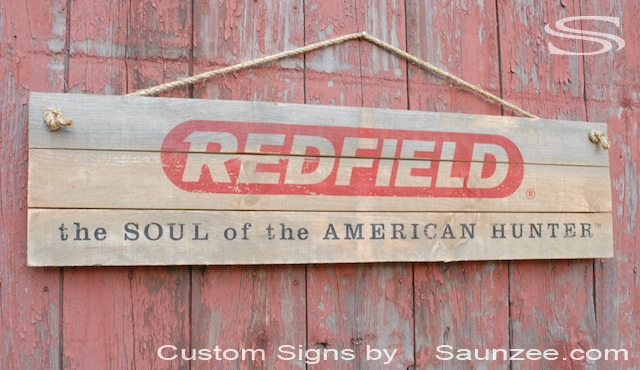 Saunzee Custom Barn Wood Signs Timber Wood Signs Retail Hunting Store Sign Outfitter Shop Sign Visual Marketing Sign Advertising Sign Redfield the Soul of the American Hunter
