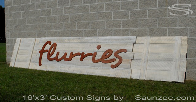 Saunzee Custom Large Barn Wood Sign Divides In to 3 Sections Mall Store Front Sign White Wash Timber Wood Sign Rustic BarnWood Signs 3D Mall Sign 3 Dimensional Big Outside Sign Flurries Sheep Signage