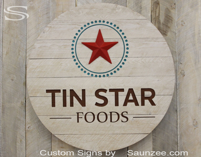 Saunzee Custom Large Barn Wood Sign White Wash Timber Wood Sign Rustic Barn Wood Carved Signs 3D Sign 3 Dimensional Circle Sign Tin Star Signage