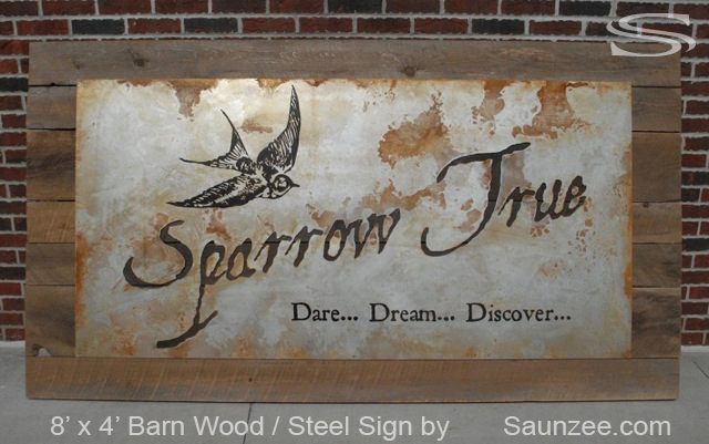 Saunzee Custom Large Barn Wood Steel Sign Rusty Metal Sign Trade Show Exhibits Signs Show Room Laser Cut Sign Old Look Vintage Sign Beautiful Showroom Signs Sparrow True Dare Dream Discover