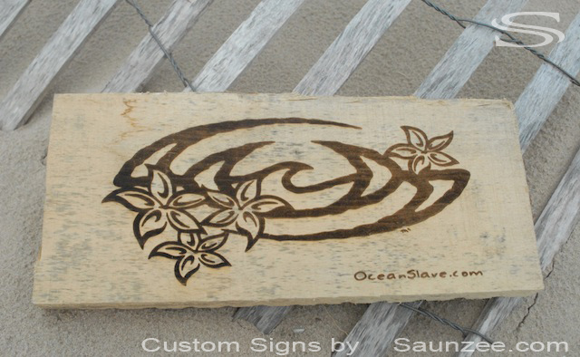 Saunzee Custom Laser Etched Wood Sign OS Laser Burned Wood Sign Engraved Wood Signs Branded Wood Signs OceanSlave Nectar Logo Signage