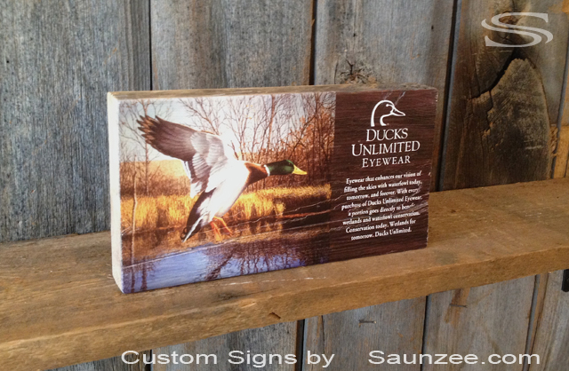 Saunzee Custom Rustic Barn Wood Photograph Printed Picture Signs Blocks Shelf Displays POP Displays Ducks Unlimited Display Wood Photo Picture Display