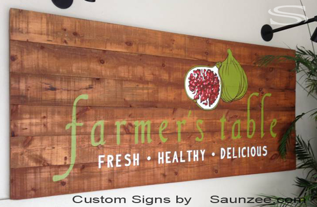 Saunzee Custom Showroom Sign Barn Wood Signs Farm Produce Sign Business Lobby Signs Farmers Table Sign Fresh Healthy Delicious