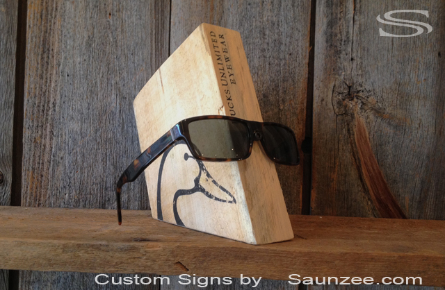 Saunzee Custom Rustic Barn Wood Sunglass Display Blocks Shelf Displays POP Displays Ducks Unlimited Display Sunglasses Display Sunglass Hut Display