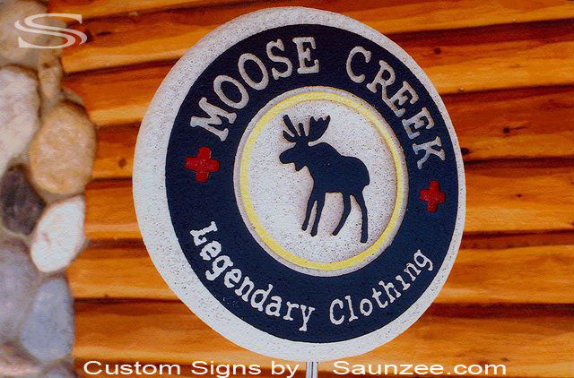 SAUNZEE Custom Signs Foam Molded Double Sided Signs Header Sign Log cabin Sign 3D Marketing Hotel Retail Shop Advertising Signs Foam Urethane Sign Top of Rack Sign Round Sign HeaderSign Rotating Post Sign Moose Creek Out Door Signage