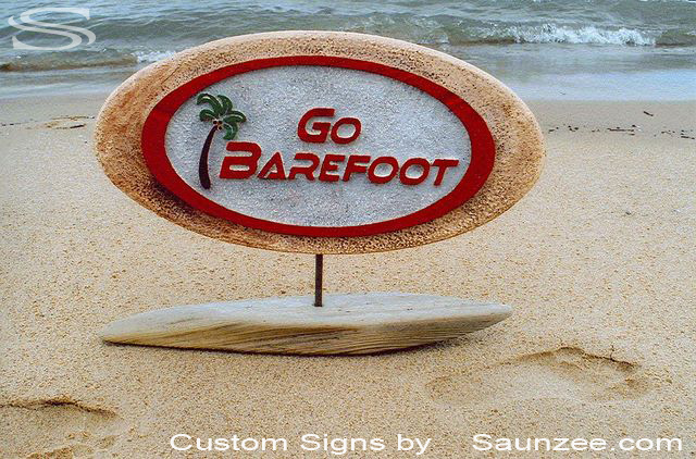 SAUNZEE Custom Signs Foam Molded Sign Double Sided Foam Signs Rustic POP Sign 3D Sign Point of Purchase Advertising Signs POP Displays Tabletop Sign Table Top Sign Counter Top Sign Countertop Sign Go Barefoot