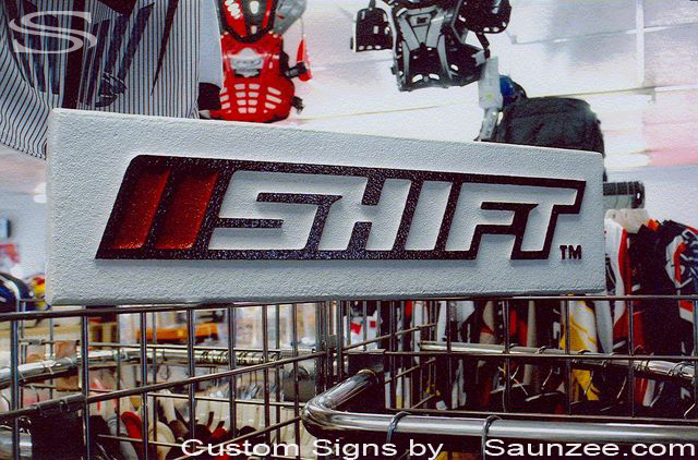 SAUNZEE Custom Signs Foam Molded Sign Double Sided Foam Signs POP Sign Island Grid Wall Sign SignFoam 3D Sign ThreeD Point-of-Purchase Advertising Signs POP Displays Header Rack Sign Toper Sign Shift Motocross