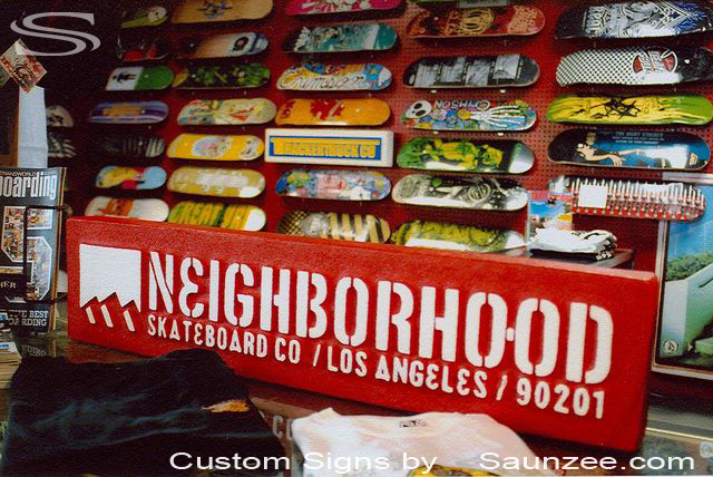 SAUNZEE Custom Signs Foam Molded Sign Double Sided Foam Signs POP SignFactory 3D Sign Point of Purchase Advertising Signs POP Displays Skateboard Tabletop Sign Table Top Sign Store Counter Top Sign Countertop Sign Los Angeles 90201