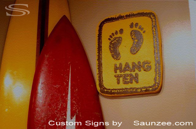 SAUNZEE Custom Signs Foam Molded Sign Foam Sign Old Sign Vintage Signs 3D Sign SurfSign Wetsuit Sign Hang Ten Sign Surf Signage