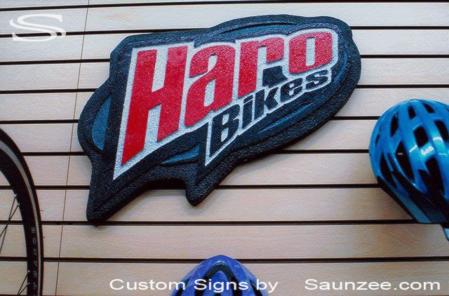 SAUNZEE Custom Signs Foam Molded Sign Foam Signs POP 3D Sign Point of Purchase Marketing Sign Slot Wall Advertising Signs POP Displays In Store Wall Signs Haro Bikes Signage