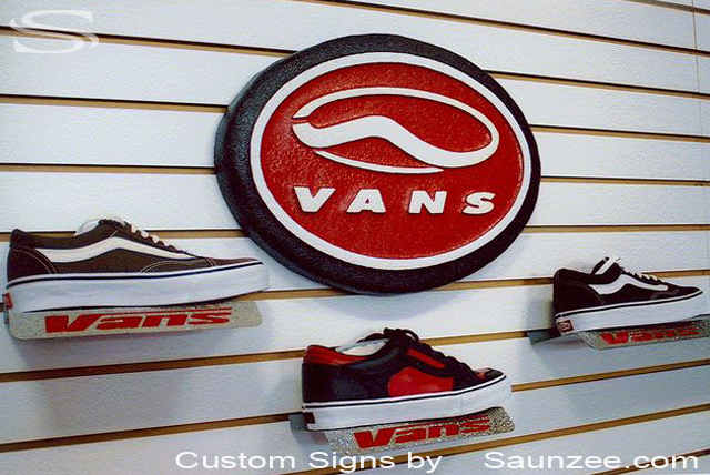 SAUNZEE Custom Signs Foam Molded Sign Foam Signs POP Sign fixtures Laser Cut Shoe fixture Signs 3D Sign Point of Purchase Marketing Advertising Signs POP Displays Production Signs Slot Wall Vans Shoes  Signage