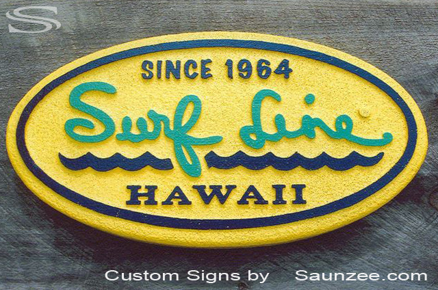 SAUNZEE Custom Signs Foam Molded Sign FoamSigns POP Sign 3D Sign•Foam HDU Sign SurfSigns Signs Advertising Signs SurfShop lightweight Signs POPSign Three D Sign Displays Surf Line Hawaii SurfSign