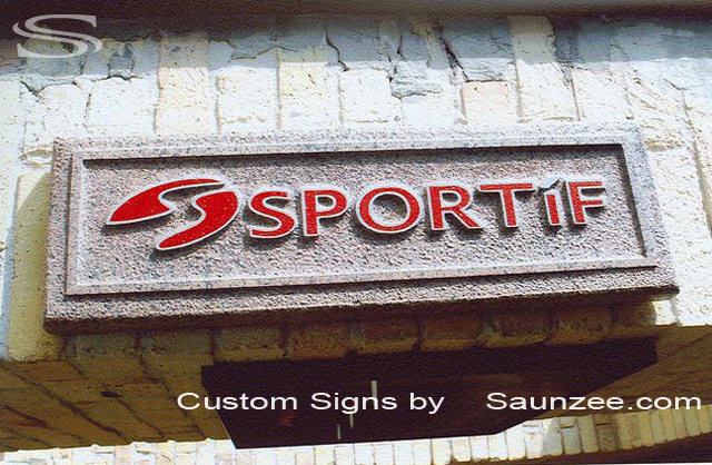 SAUNZEE Custom Signs Foam Molded Sign Rock Look Foam Signs POP Sign Factory 3D Sign Point of Purchase Advertising Signs Rock Sign POP Displays In Store Wall Signs Sportif Signage