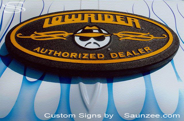SAUNZEE Custom signs Foam Molded Signs Foam Sign 3D pop Sign Point of Purchase Marketing Sign Exhibiting at Trade Show Advertising Signage Graphic Signs Car Sign Hot Rod Sign LowRider Mag Sign Low Rider Sign