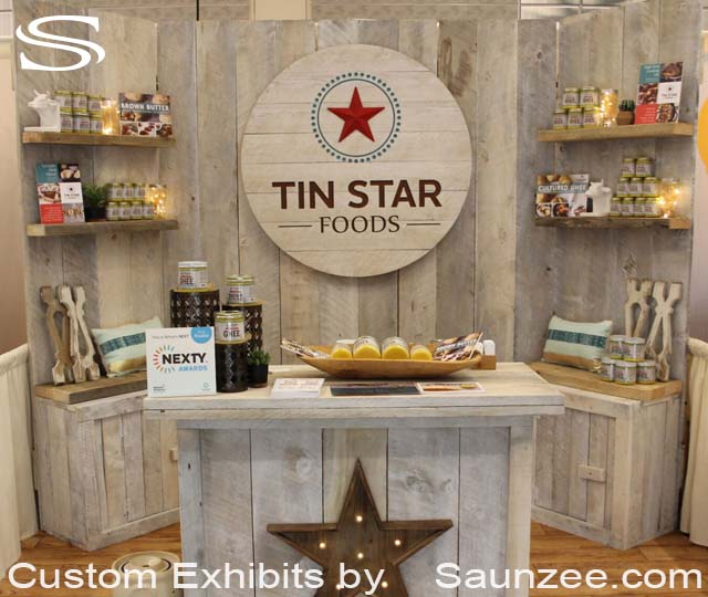10 by 10 Barn Wood Trade Show Booths Exhibits COLLAPSIBLE Rustic Wood Trade Show Exhibits Portable Free Standing Exhibition Walls Tin Star Exhibit Booth