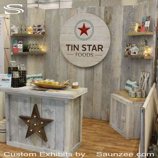 10 by 10 Collapsible Exhibits 10x10 Exhibits Portable Wood Trade Show Booth Easy Breakdown Exhibits Tin Star Foods