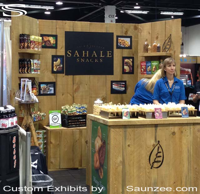 Collapsible Barn Wood Trade Show Booths Exhibits 10x10 Rustic Wood Trade Show Exhibits Portable Wood Trade Show Exhibits Free Standing Exhibition Walls Sahale Snacks Exhibit