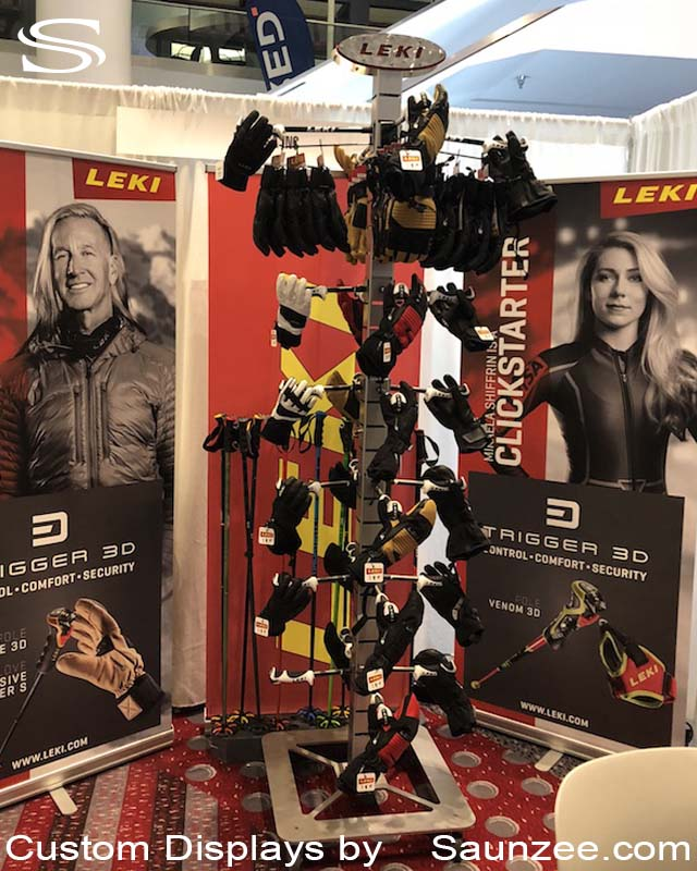 Collapsible Free Standing Trade Show Booth Exhibits Steel Displays Exhibits Island 8 foot Post Display Leki Ski Pole Display