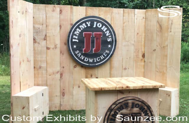 Custom 10x10 Timber Wood Trade Show Booths Exhibits Rustic Wood Exhibits Portable Wood Trade Show Walls Jimmy Johns Sandwiches Exhibit