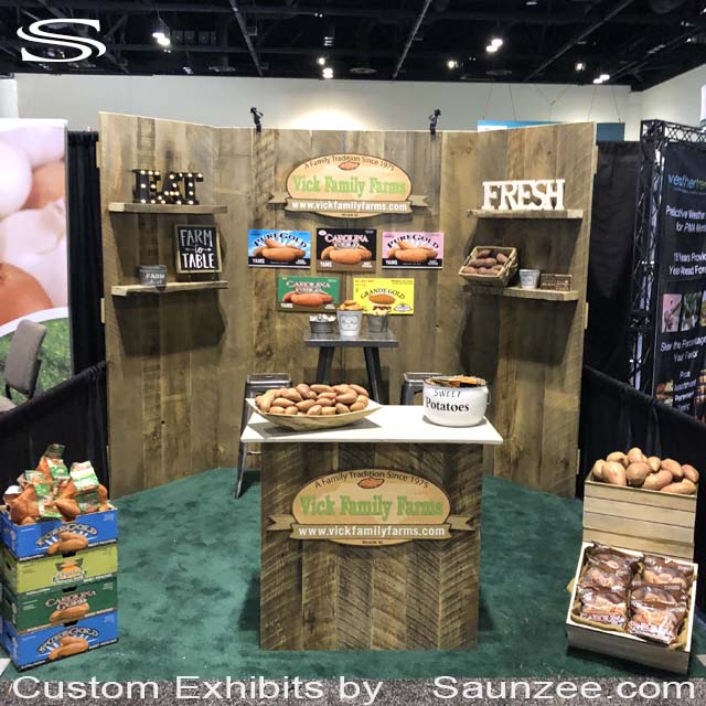 Custom 10x10 Wooden Barn Doors Trade Show Booths Exhibits Portable NATURAL PRODUCTS EXPO Exhibit Farmers Products Sweet Potatoes Vick Family Farms