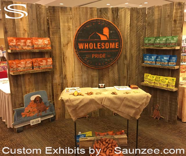 Custom Barn Wood Trade Show Booths Exhibits Rustic Wood Trade Show Exhibits Portable Wood Trade Show Exhibits Free Standing Exhibition Walls Wholesome Pride Pet Treats