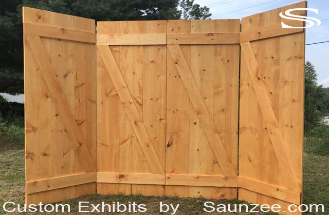 Custom Exhibit Thin Wooden barn doors Trade Show Booths Exhibits 10x10 Wood Trade Show Portable Exhibits Free Standing Exhibition Walls lightweight Wood Panels