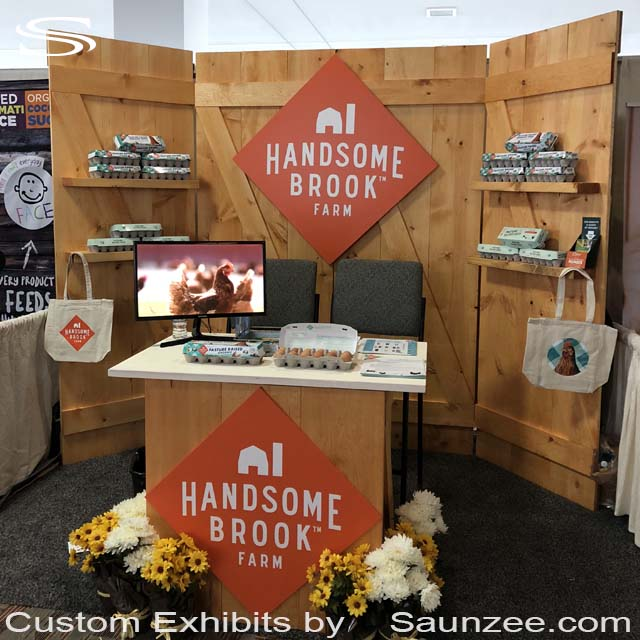 Custom Exhibit Thin Wooden new barn doors Trade Show Booths Exhibits Portable NATURAL PRODUCTS EXPO EAST ALL THINGS ORGANIC AMERICA Handsome Brook Farms Exhibit