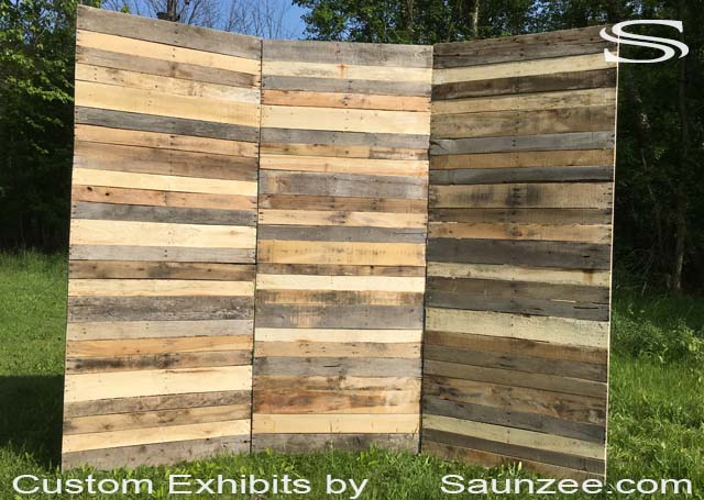 Go Green Saunzee 10x10 Recycle Pallet Wood Exhibits Pallet Wood Trade Show Booth Wooden Pallet Exhibits Reclaimed Wood Backdrops