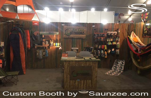 Outdoor Retailer Trade Show SLC Thin Wood Planks Trade Show Booths Exhibits Rustic Wood Trade Show Exhibits Portable Exhibits Free Standing Exhibition Walls Fire lite Rustic Exhibit Booths