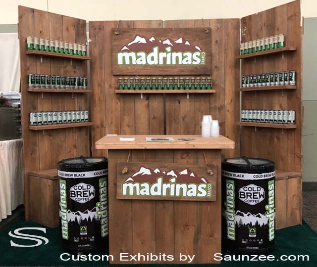 Saunzee Exhibits Custom Exhibits Wooden Trade Show Booths Product Expo Booth MADRINAS Coffee