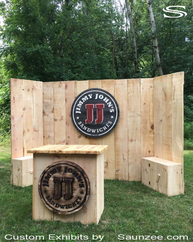 Saunzee Collapsible 10x10 Exhibits Timber Wood Trade Show Booths Exhibits Rustic Wood Trade Show Exhibits Portable Wood Trade Show Walls Jimmy Johns Rustic Exhibit Booths