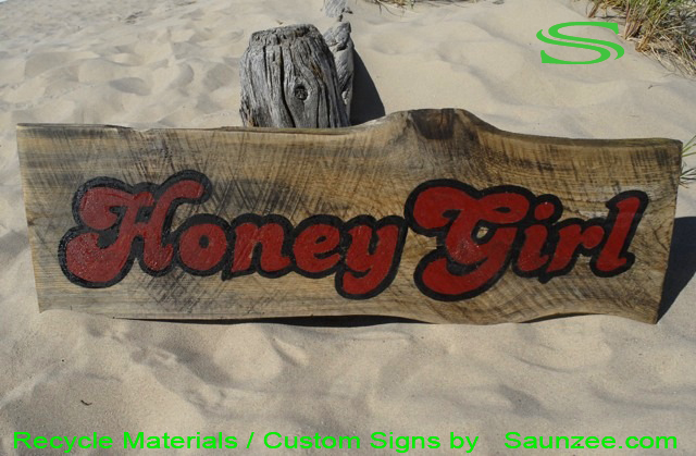 Saunzee-Go-Green-Signs-Custom-Recycle-Signs-Recyclable-Sign-Timber-Signs-Barn-Wood-Signs-Reclaime-Wooden-Signs-Rustic-Signs-Green-Sign-Honey-Girl-Signage