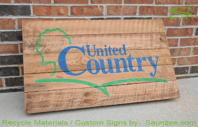 Saunzee Go Green Custom Recycle Signs Barn Wood Sign Real Estate Signs Country Real Estate Group Signage Rustic Recycle Wooden Real Estate Signs Green