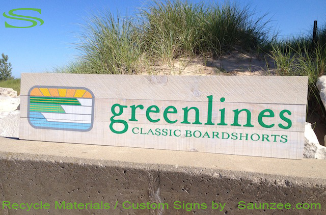 Saunzee Go Green Custom Recycle Signs Barn Wood Sign Surf Shop Signs Outdoor Signage Rustic Recycle Wooden Signs Long Lasting Sign Green Sign Greenline Boardshorts Sign