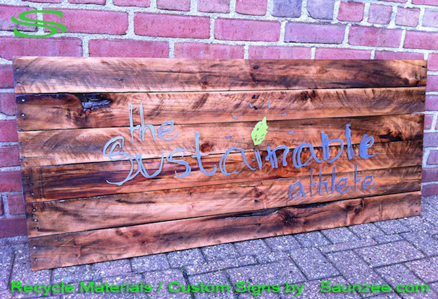 Saunzee Go Green Signage Custom Eco Friendly Signs Recycle Old Weathered Wood Signs Aged Reclaim Crate Wood Signs Metal Letters Mounted to Pallet Wood Sign Showroom Signs Cherry Wood Signs The Sustainable