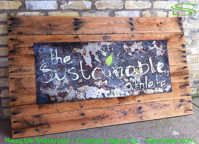 Saunzee Go Green Signs Custom Eco Friendly Signs Recycle Old Weathered Wood Signs Aged Reclaim Crate Wood Signs Rusty Metal Sign Nailed to Pallet Wood Sign Commercial Business Signs Rustic Signs The Sustainable athlete