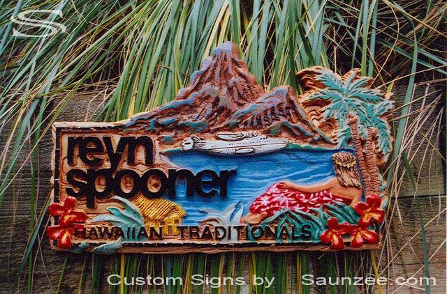 SAUNZEE Custom 3D Wood Look Molded Signs Rigid Polyurethane Foam Signage 3 Dimensional Carved Wood Sculpted Sign Retail Shop Sign Resort Retailer Store Creative Point of Purchase Sign Visual Marketing Signs Reyn Spooner Hawaiian Islands