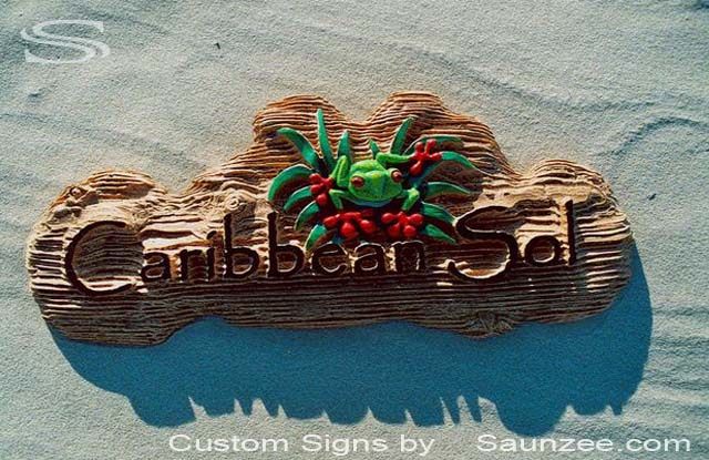 SAUNZEE Custom 3D Wood Look Molded Signs Rigid Polyurethane Foam Signage 3 Dimensional Carved Wood Sign Sandblast Sign Sandblasted Sign Sculpted Wooden Sign Creative Signs Caribbean Soul