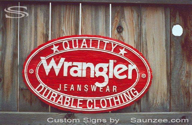 SAUNZEE Custom 3D Wood Look Molded Signs Rigid Polyurethane Foam Signage 3 Dimensional Carved Wood Sign Sandblast Sign Sandblasted Sign Weathered Wooden Sign Western Signs Promotional Signs Advertising Sign Visual Marketing Signs Wrangler