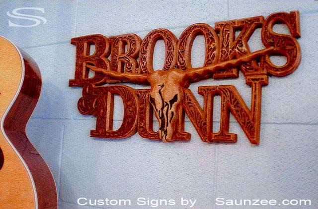 SAUNZEE Custom 3D Wood Look Molded Signs Rigid Polyurethane Foam Signage 3 Dimensional Carved Wood Sign Sculptured Wooden Sign Creative Signs Point of Purchase Sign POP Signs Visual Marketing Signs County Music Western Sign Brooks Dunn