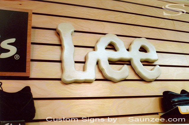 SAUNZEE Custom 3D Wood Look Molded Signs Rigid Polyurethane Foam Signage 3 Dimensional Wood Route Look Signage 3D Letters Signs Top Pop Signs Global Marketing Retail Store Sign Point Of Purchase Signs P O P Sign Manufacture Lee Jeans