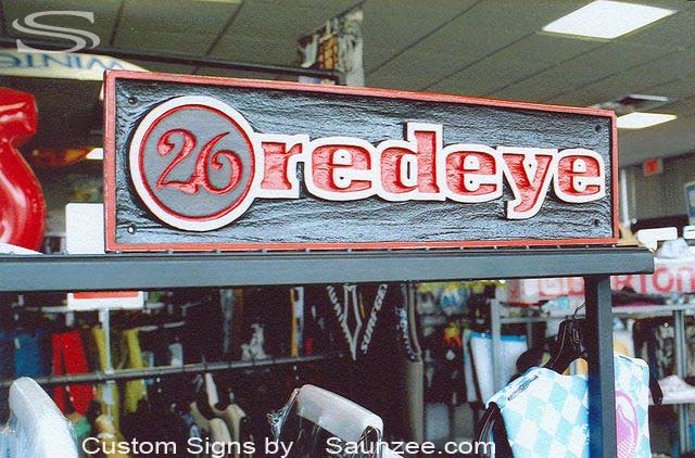 SAUNZEE Custom 3D Wood Look Molded Signs Rigid Polyurethane Foam Signage Carved Sign Point of Purchase Display Sign Makers Signs POP Signs Visual Marketing Signs In Store Merchandising Sign 3 Dimensional Signs26 redeye