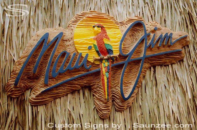 SAUNZEE Custom 3D Wood Look Molded Signs Rigid Polyurethane Foam Signage Carved Wood Sign Sandblast Sign Creative Signs Point of Purchase Display Applications POP Signs Marketing Signs Maui Jim Sign